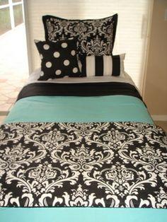 Custom dorm bedding set add a custom headboard and striped bed skirts