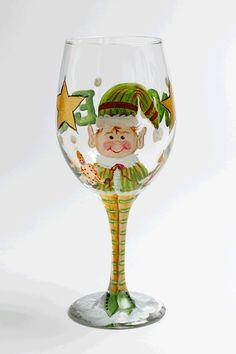 Glass Painting - Christmas Elf Wine Stem