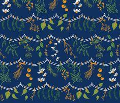 'Herbs+Vegetable lines' custom made fabric design by English/Finnish designer Mirjamauno, © 2014.