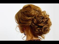 Hairstyle for long hair. Wedding prom updo - YouTube