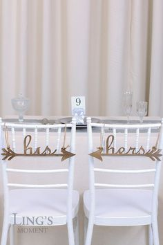 His and Hers Wedding Chair Signs Wooden Arrows -Mr and Mrs Chair Sign -Birde and Groom Chair Sign-Wedding Chiavari Chair Decor CSWHH1335-DWN
