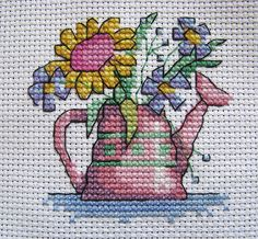"""Watering can with flowers   From """"World of Cross Stitching"""",…   Flickr"""