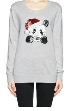 Gray/ white sweater/jumper with panda with christmas hat on