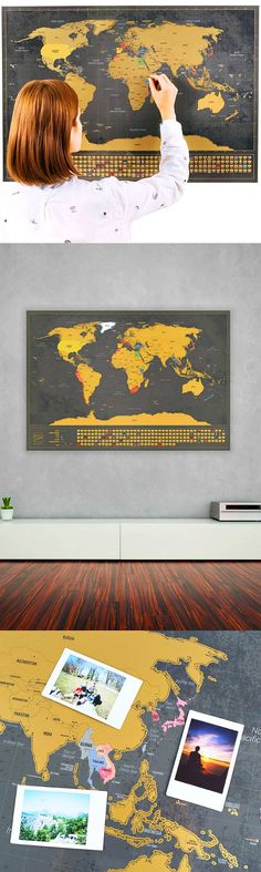 OMG I love this scratchable world map wall poster! Personalize your adventures by scratching the places you travel, add photos, such what a great idea!