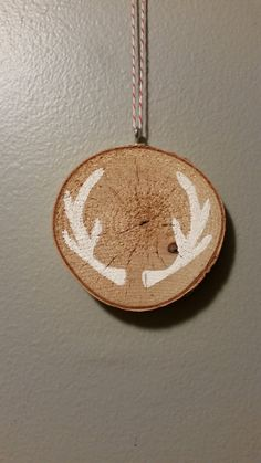 Birch Wood rustic ornament  hand painted  Antlers by 5oh4Designs