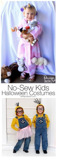 We gathered these DIY no-sew kids halloween costume ideas to show you that you can make homemade costumes with out a sewing machine. Happy Trick or Treating! || Design Dazzle