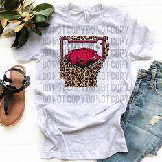 Arkansas Razorback Hogs w/ Leopard - Ash Grey College Shirts, Cute Graphic Tees, Arkansas Razorbacks, Fashion Shirts, Ash Grey, Grey Fashion, Hustle, Happy Shopping, Mom