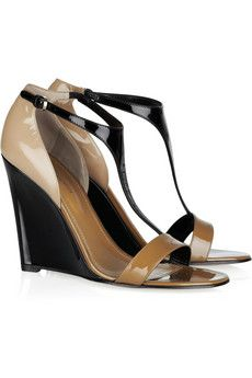 SERGIO ROSSI  Color-blocked patent-leather wedge sandals  Oh! I love them!