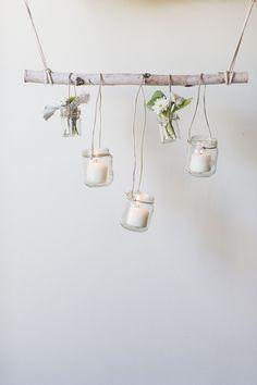 DIY birch branch hanging decor