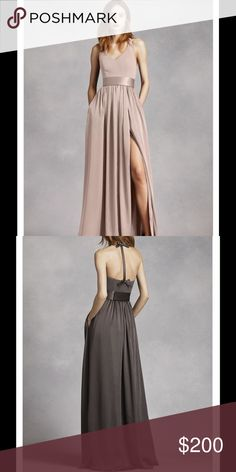 New✨ V Neck Halter Gown/Dress with Sash Style: VW360214 Color: Biscotti. The color is the one from the first picture, the second photo is for you to see the back only. An exquisite gown that is perfect for a wedding party or any special event! V-neck halter gown with matte crepe bodice features bow detail at back. Long soft charmeuse skirt with middle slit and trapunto-stitched satin sash finishes off the look. Size 0 Fully lined. Back zip. Imported crepe/matte/charmeuse. Dry clean only…