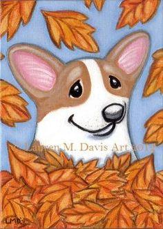 Pembroke Welsh Corgi Dog Fun Cute Fall time Leaves Autumn Cute Original 5x7 acrylic on flat canvas board by Florida Animal Artist Lauren M. Davis 100% Donated to Supporting Corgis Auction