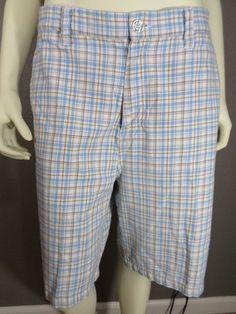 Men's Split Plaid Shorts - Size 32R #Split #CasualShorts