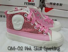 READY STOCK KIDS CANVAS SHOES KODE : GM-02 Pink Skull Sparkling Size 25,27,28,32,33,36 PRICE : - Size 25,27,28 : @Rp.180.000,- - Size 32,33,36 : @Rp.190.000,- DETAIL SIZE (insole) :  - Size 25 (16cm) - Size 26 (16,5cm) -- SOLD  - Size 27 (17cm) - Size 28 (17,5cm) - Size 29 (18cm) -- SOLD - Size 30 (18,5cm) -- SOLD - Size 31 (19cm) -- SOLD - Size 32 (19,5cm) - Size 33 (20cm) - Size 34 (20,5cm) -- SOLD - Size 35 (21cm) - Size 36 (21,5cm) - Size 37 (22cm) -- SOLD  FOR ORDER : SMS/Whatsapp…