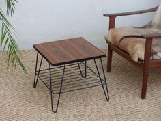 Table magazine rack teak vintage - Mid century teak side table - magazine rack  Welcome to CollectionIt, a shop that will help you to add vintage