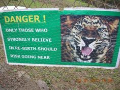 Danger sign at a zoo
