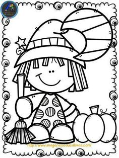 : Halloween witch coloring page - - Manualidades Halloween, Easy Halloween Crafts, Theme Halloween, Halloween Activities, Fall Crafts, Fall Halloween, Witch Coloring Pages, Halloween Coloring Pages, Cute Coloring Pages