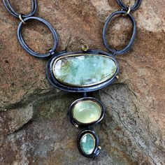 Earthy and elegant, meadow colors.  Russian emerald, prehnite and pale, rose-cut emerald.   #emeralds #necklaces #sydneylynchjewelry #natureinspired