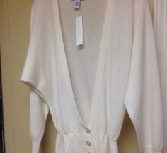 Laundry by Shelli Segal Cashmere Cardigan Sweater Extra Small Cream | eBay $29.50