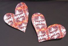 Kaleidescope Heart Brooches by K. Hernandez - Polymer Clay Art, via Flickr