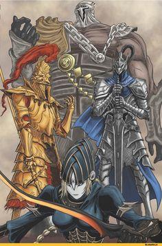 DS art,Dark Souls,фэндомы,DS персонажи,Artorias The Abysswalker,Dragon slayer Ornstein,Lord's Blade Ciaran,Hawkeye Gough,DSII персонажи,Dark Souls 2,Four Knights