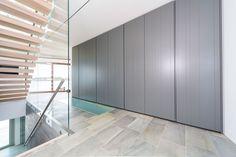 Poliform Senzafine wardrobe with grey Stratus doors Stavanger, Wardrobe Design, Interior And Exterior, Divider, Doors, Furniture, Grey, Home Decor, Gray