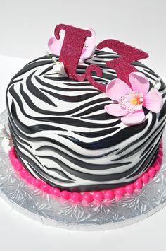 13th Birthday Zebra Cake