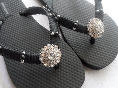 Fracasos de tirón de Macrame negro / negro novia Rhinestones ojotas / damas de honor zapatos sandalias de novia.