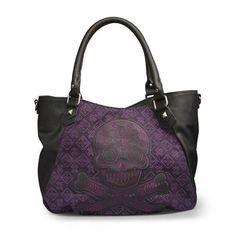 Loungefly Black & Purple Tweed Purse Sugar Skull Crossbody Bag