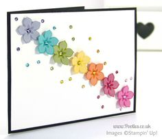 South Hill & Stampin Up on Sunday Rainbow Flowers Card Tutorial - Beautiful Bunch Stamp Set - Petite Petals Punch - Blendabilities Markers