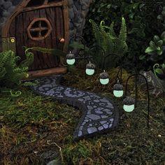 Acorn Glowing Mini Path Lights set of 5: Fairy Garden Miniature Accessories