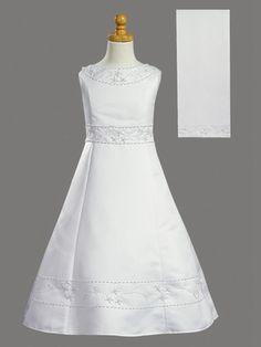 Communion Dress - Matte Satin A-Line w/ Shawl