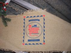 Soft cotton yarn with a Burlap looking table runner feed sack runner, sugar sack  runner  www.etsy.com/shop/feedsacklady
