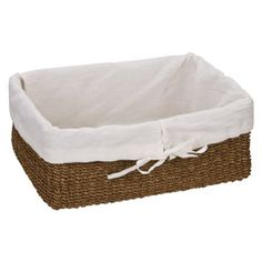 The Container Store > Lined Makati Baskets for storing food stuff on our kitchen shelving unit Brown Bedroom Walls, Kitchen Shelving Units, Sock Storage, Mudroom Laundry Room, Natural Line, Makati, Closet Organization, Organization Ideas, Container Store