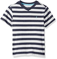 9a6998294 Boys  Short Sleeve V-Neck Stripe Tee Shirt Bold Stripes