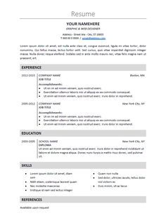 free clean and simple resume template for word docx gray classic resume templates pinterest simple resume template simple resume and template - Professional Resume Samples In Word Format