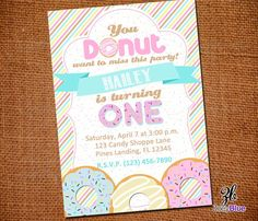 Girl Donut (Doughnut) Printable Birthday Party Invitation (Pink Brown Yellow Striped 1st First Birthday) - Digital File