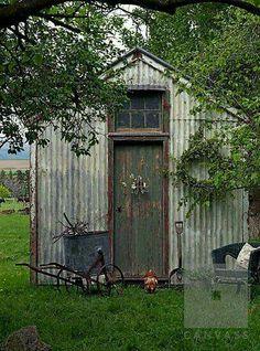 Rustic metal garden shed