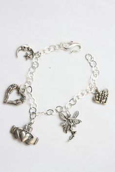 Celtic Theme Sterling Silver 925 Bracelet Chain with Claddagh Hearts Fairy and Moon Charms by Jewelsbyjackiecom on Etsy