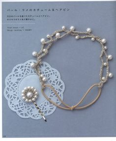 Simple crochet necklace with pearls, diagram on the next page in the album