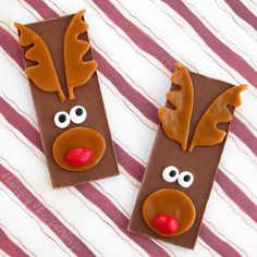 Rudolph the Red Nose Reindeer Candy Bars.  Over the years, I've seen lots of Christmas crafts where people wrap candy bars to look like Rudolph the Red Nose Reindeer and I think they are adorable, so I decided to create a candy bar reindeer with all edible decorations. I kept this project really simple, using all store bought candies. Kids will have a great time making these, and eating them too!