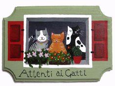 Acrilico su legno. Acrylic on wood #gatti #cats #painting #hand made