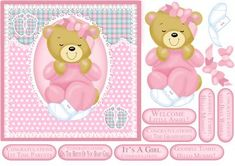 Baby Girl Single Sheet Quick Cute Card on Craftsuprint - Add To Basket!