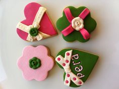 Heart & green pink cookies