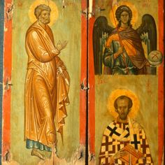 Diptych with Gabriel, Basil, and Paul · The Sinai Icon Collection Byzantine Icons, Byzantine Art, Medieval Books, Queer Art, Best Icons, Art Thou, Icon Collection, Orthodox Icons, Sacred Art