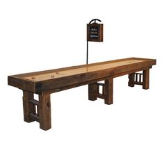 Shuffleboard Dakota 14 foot model shown with score unit. Made with reclaimed barn wood. Hand crafted shuffleboard tables made with pride in the USA. All our shuffleboard tables are made in our own factory. McClure Tables handcrafted Shuffleboard Tables.