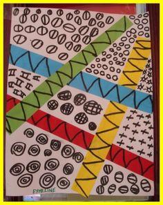 Grafismes diversos delimitats per tires de paper Art Montessori, Elements Of Art Color, Line Art Lesson, Polymer Clay Painting, Kindergarten Art Lessons, Teaching Supplies, Church Activities, Amazing Drawings, Art Graphique