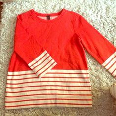 HOST PICK J. Crew orange striped top 3/4 length sleeves, thick cotton. Like new! J. Crew Tops