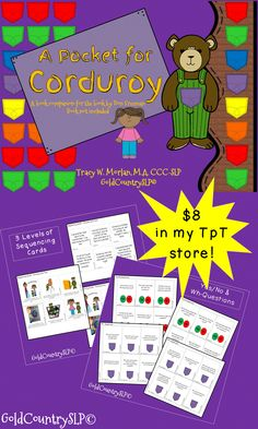 Activities include: Sequencing cards (multi-level); comprehension questions; multiple meaning words; sentence formulation cards; grammar activities.