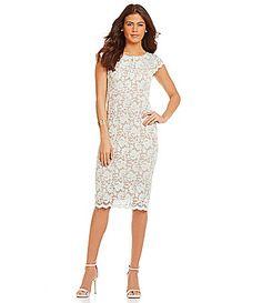 9e6e30a6ac7 ABS by Allen Schwartz Cap-Sleeve Lace Sheath Midi Dress
