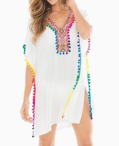 Right as Rainbows Boho Caftan - Cute Outfits Beachwear Fashion, Boho Fashion, Womens Fashion, Style Caftan, White Kaftan, Diy Summer Clothes, Diy Clothes, Girl Outfits, Cute Outfits